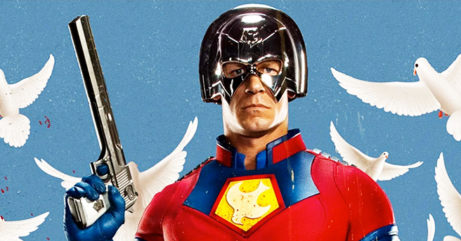 John Cena is not new in playing bizarre characters on-screen, as it's evident from the giant chrome helmet that he wears as Peacemaker.