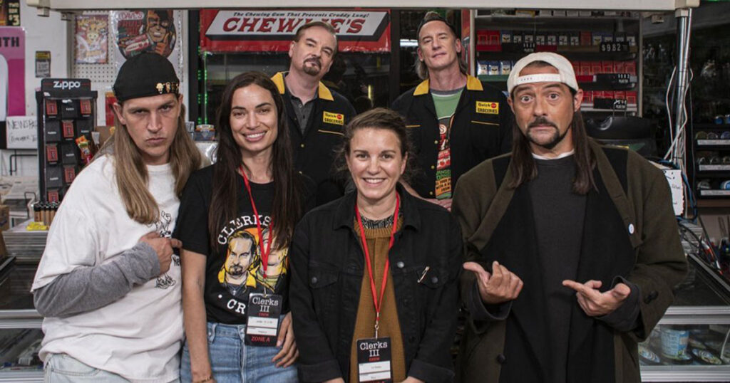 Kevin Smith and Jason Mewes pose for the wrap of Clerks 3